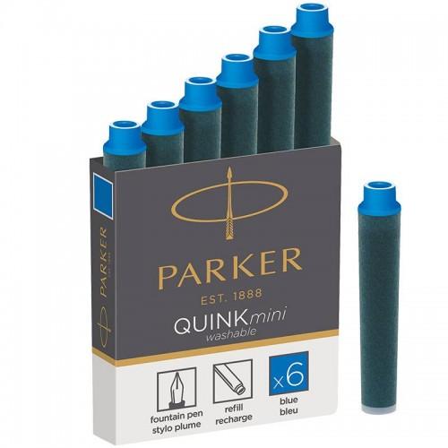 Синие неводостойкие картриджи Parker (Паркер) Quink Mini Cartridges Washable Blue 6шт в Омске