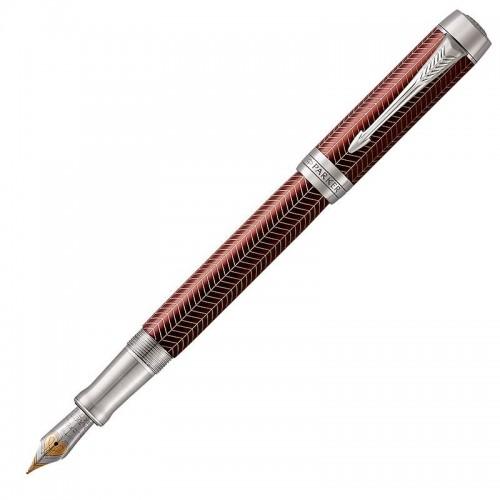 Перьевая ручка Parker (Паркер) Duofold Prestige Centennial Burgundy Chevron CT F в Омске